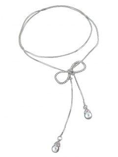 Rhinestone Bowknot Faux Pearl Necklace - Silver