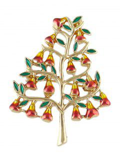 Tree Faux Gem Alloy Brooch - Golden