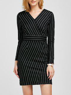 V Neck Long Sleeve Striped Bodycon Dress - Black S