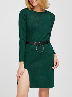 Side Slit Belted Ribbed Sweater Dress - Blackish Green