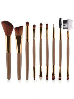9 Pcs Makeup Brushes Set - Champagne Gold