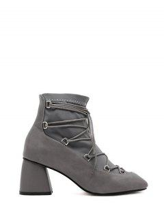 Lace Up PU Leather Panel Ankle Boots - Gray 38