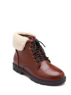 Lace Up Faux Shearling Insert Short Boots - Brown 37