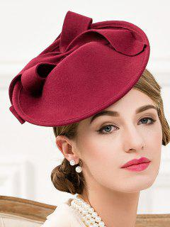 Bowknot Felt Cocktail Hat - Wine Red
