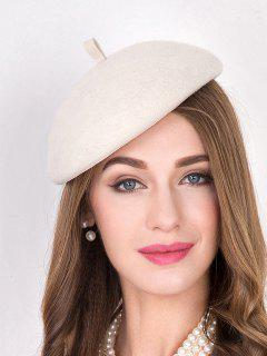 Wool Felt French Beret - Off-white