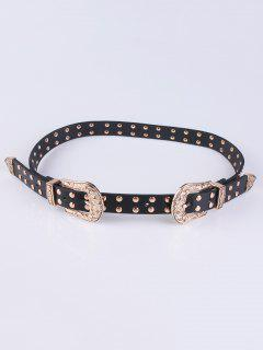 Double Buckle Rivet PU Belt - Black