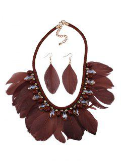Artificial Gemstone Feather Necklace And Earrings - Coffee
