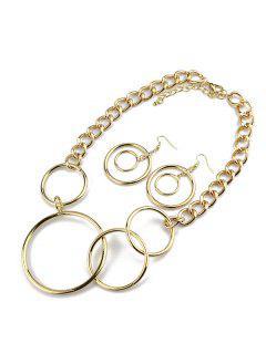 Cercles De Collier Avec Boucles D'oreilles  - Or