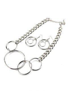 Círculos Collar Con Los Pendientes - Plata