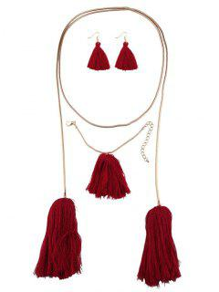 Tassel Necklace Drop Earrings And Bracelet - Red
