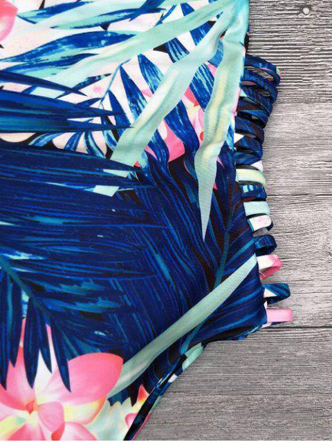 sale Cut Out Tropical Print One-Piece Swimwear - BLUE L Mobile