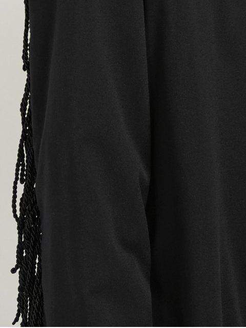 lady Belted Fringed Shirt Dress - BLACK 2XL Mobile