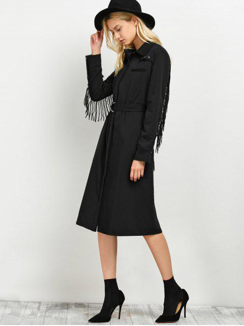 best Belted Fringed Shirt Dress - BLACK XL Mobile