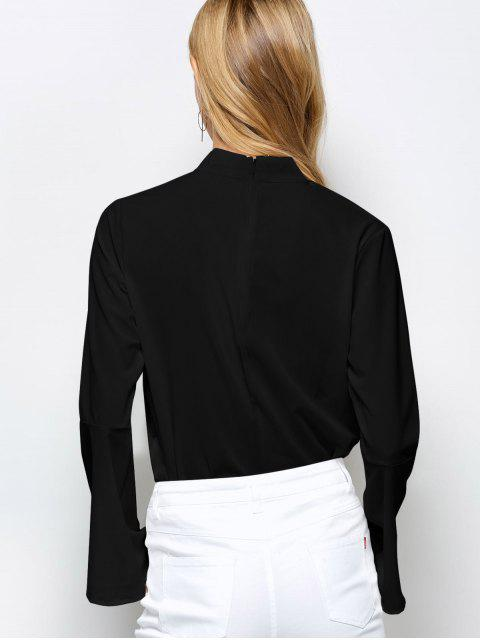 affordable Loose Choker Flare Sleeve Blouse - BLACK XL Mobile