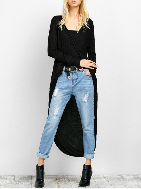 hot Twist Front High Low Top - BLACK XL Mobile
