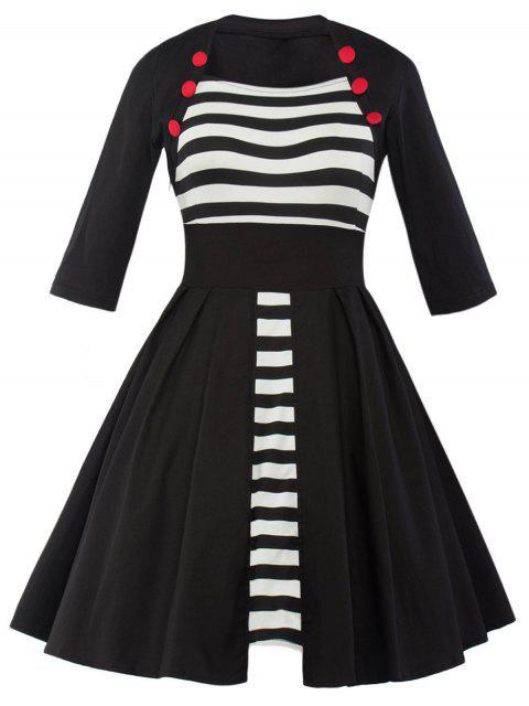 Vintage Panneau rayé Robe trapèze - Noir L Mobile
