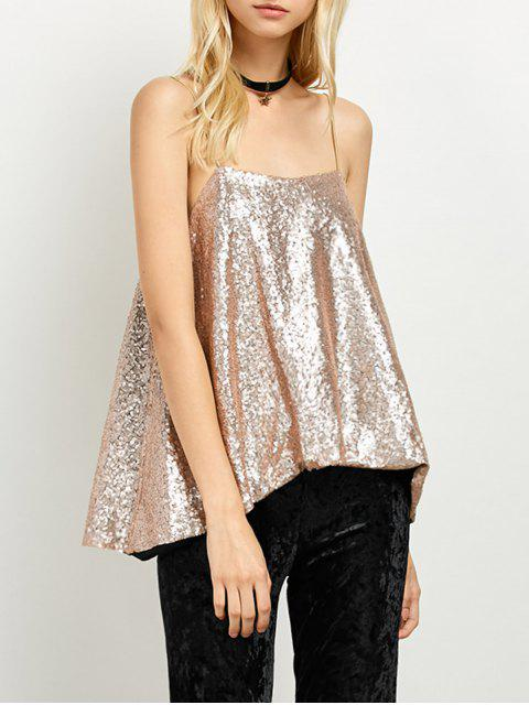 women's Loose Sequined Tank Top - GOLDEN M Mobile