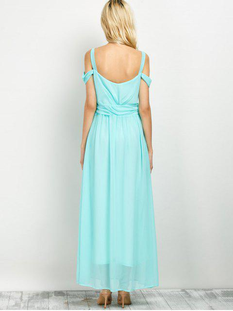 best Cold Shoulder Slit Maxi Prom Dress - LIGHT GREEN XL Mobile