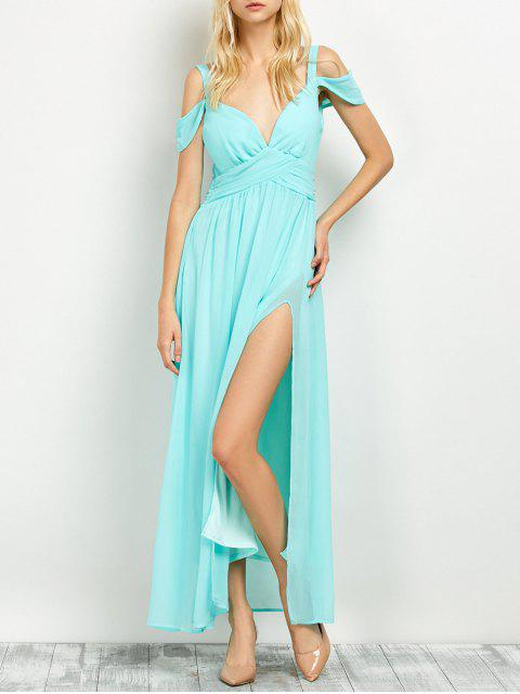 new Cold Shoulder Slit Maxi Prom Dress - LIGHT GREEN M Mobile
