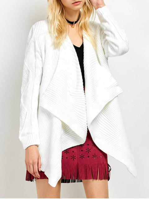 affordable Draped Basket Weave Cable Cardigan - WHITE S Mobile