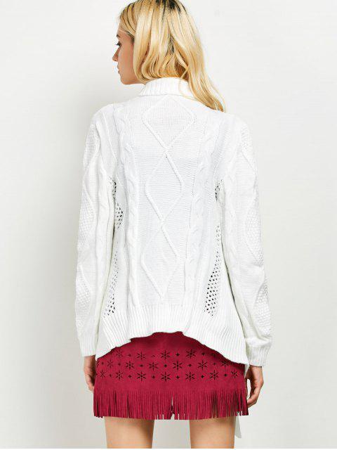 fashion Draped Basket Weave Cable Cardigan - WHITE 2XL Mobile