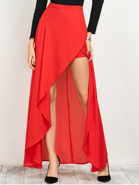 ladies High Low Hem Long Skirt - RED L Mobile
