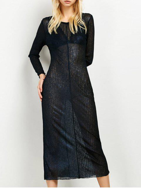 trendy Shimmer Long Dress - PURPLISH BLUE 2XL Mobile