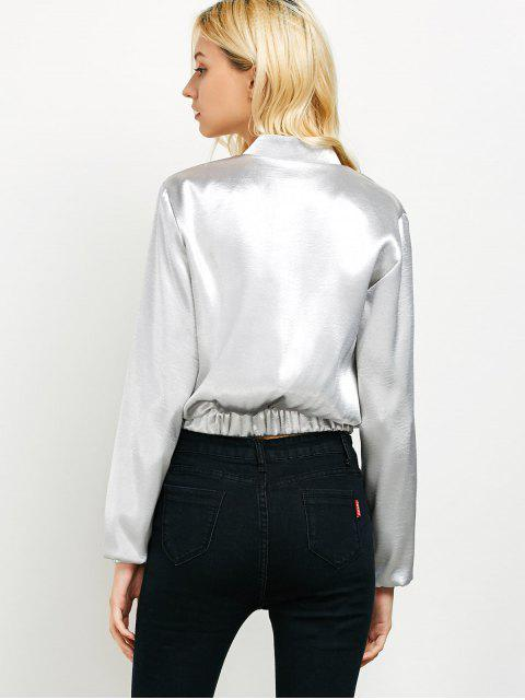 hot Metallic Color Cropped Bomber Jacket - SILVER L Mobile
