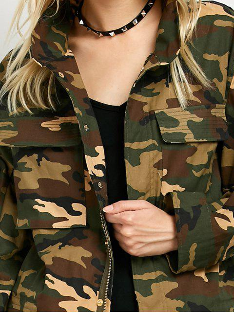 women Buttoned Camouflage Jacket - ARMY GREEN XL Mobile