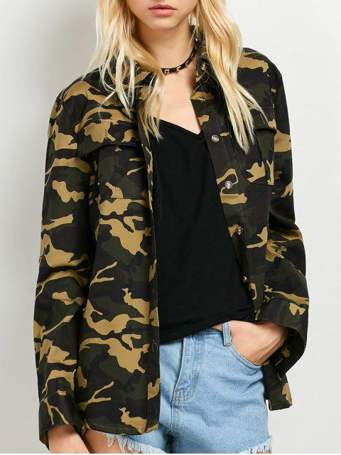 women Pocket Camo Jacket - ARMY GREEN XL Mobile