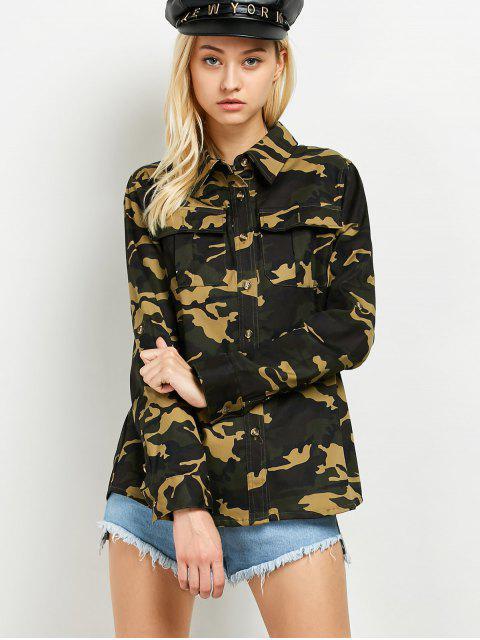 women Pocket Camo Jacket - ARMY GREEN XL Mobile