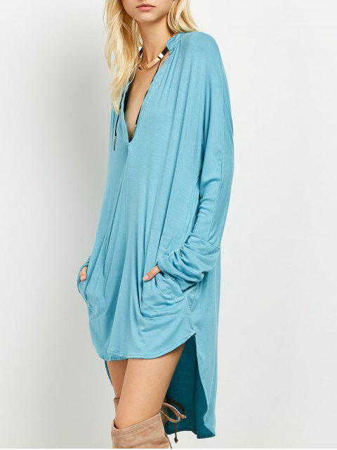 fancy Loose High-Low Dress - LAKE BLUE 2XL Mobile