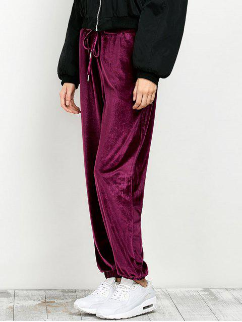 women's Velour Drawstring Sweatpants - BURGUNDY L Mobile