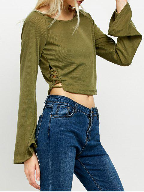 outfit Flared Sleeve Cropped Tee - ARMY GREEN 2XL Mobile