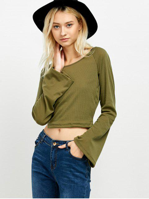 shops Flared Sleeve Cropped Tee - ARMY GREEN M Mobile