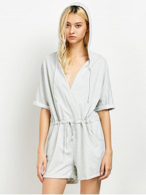 buy Rolled Cuffs Hooded Romper - GRAY XL Mobile