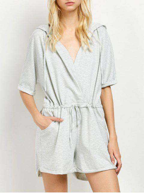 women Rolled Cuffs Hooded Romper - GRAY M Mobile