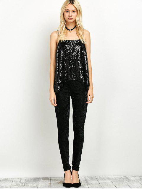 fancy Loose Sequined Tank Top - BLACK XL Mobile