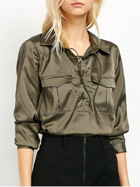 shop OL Lace-Up Shirt - GREEN L Mobile