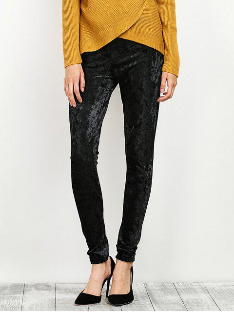 shops Stretchy Velour Narrow Feet Pants - BLACK M Mobile