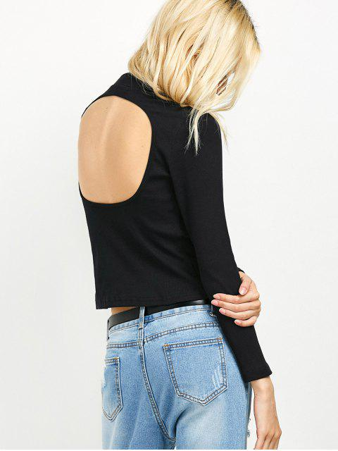 fancy High Neck Cutout Back Tee - BLACK M Mobile