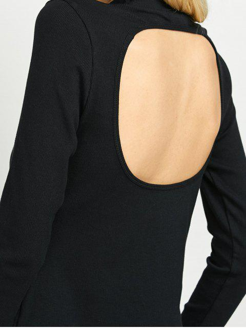 fashion High Neck Cutout Back Tee - BLACK XL Mobile