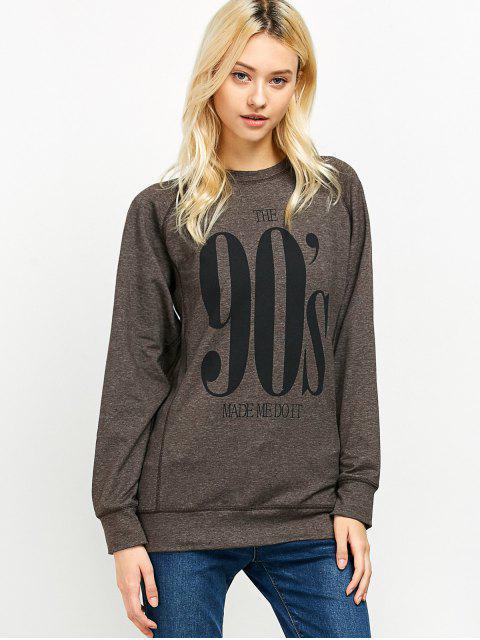 unique Raglan Sleeve Long Sweatshirt - LIGHT COFFEE M Mobile