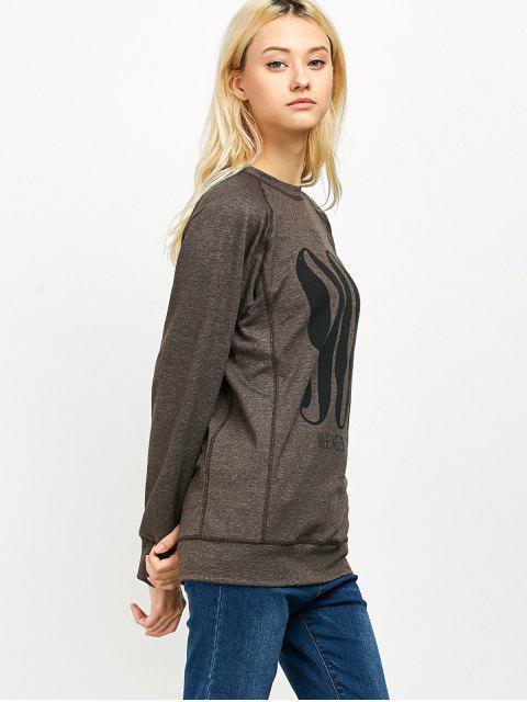 fashion Raglan Sleeve Long Sweatshirt - LIGHT COFFEE 2XL Mobile