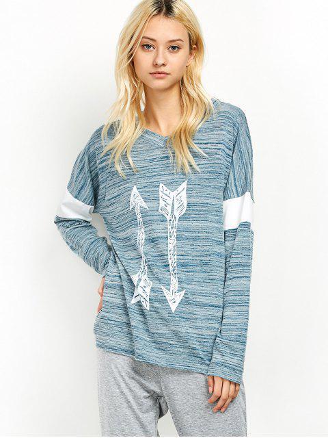 fancy Space Dyed Arrow Pattern V Neck T-Shirt - LIGHT BLUE L Mobile