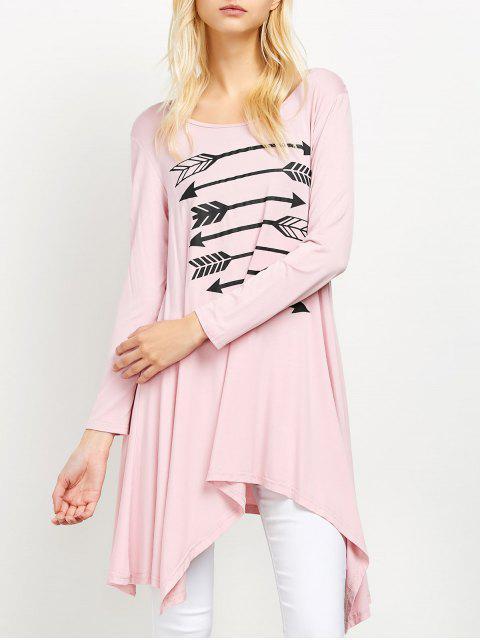 ladies Long Sleeve Arrow Print Tee - PINK M Mobile