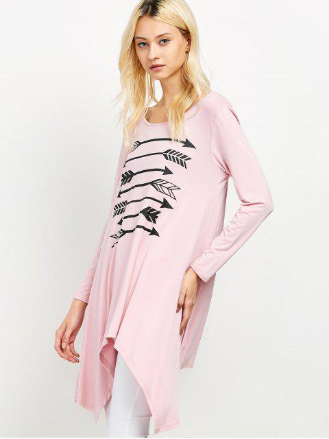 women Long Sleeve Arrow Print Tee - PINK XL Mobile