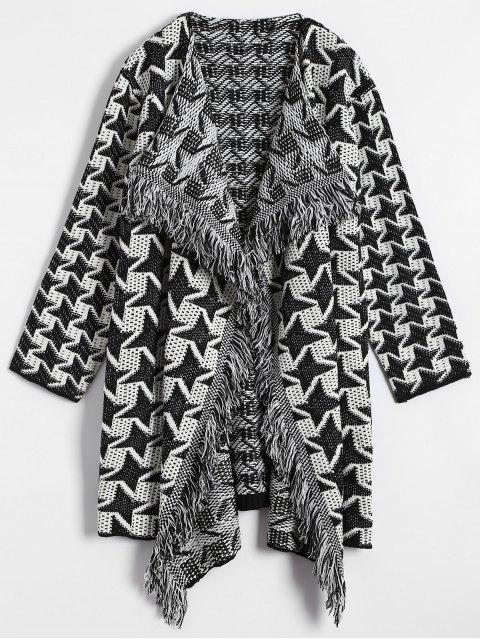 Drapierter Vorderseite Houndstooth Cardigan - Weiß & Schwarz Eine Größe Mobile