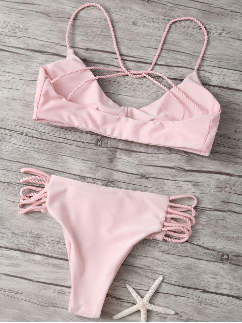 sale Strappy Criss Cross Bikini Bathing Suit - PINK S Mobile