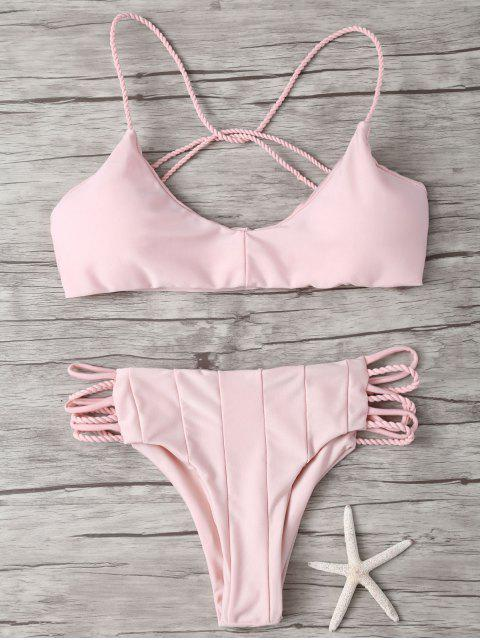 best Strappy Criss Cross Bikini Bathing Suit - PINK L Mobile